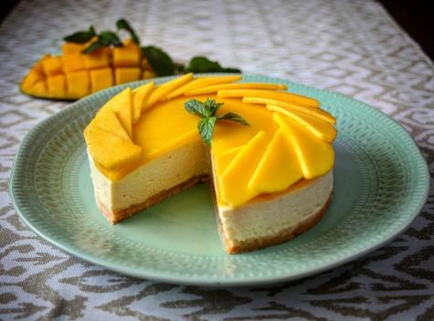 Nepečený mangový cheesecake