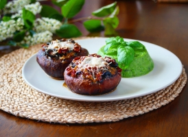 plněné portobello s hráškovým pyré