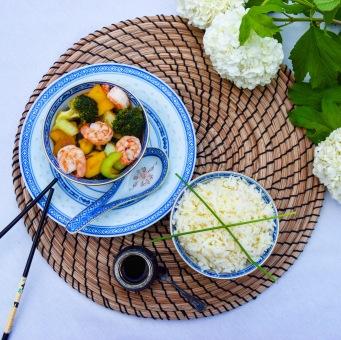 Zeleninové stir-fry s krevetami