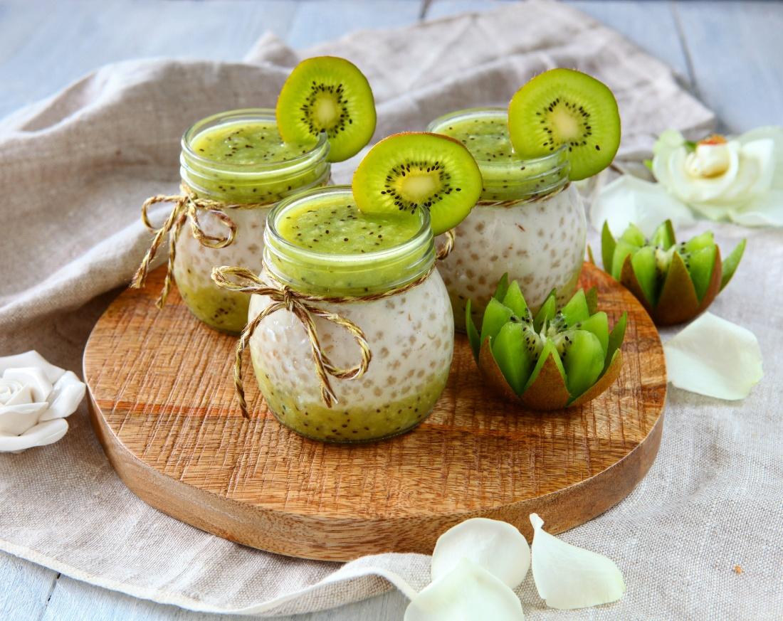 Tapiokový pudink z kokosového mléka s kiwi
